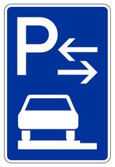 Parken ganz auf Gehwegen in Fahrtrichtung links (Mitte)