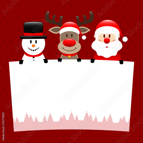 Santa, Rudolph & Snowman Label Dots Red