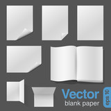 Blank Sheets of Paper & Notebook vector design template