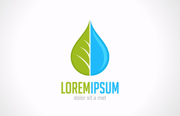 Logo Water drop & green leaf. Ecology green vector design