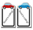 Cartoon cards with cars and road border
