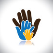 colorful hand icons(signs) of people showing concept of family-