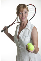 Portrait of tennis player with white background