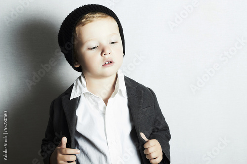 fashionable little boy in cap.stylish kid. fashion children.