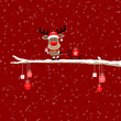 Rudolph Pulling Sleigh With Gift On Tree Red