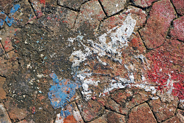 Closeup footpath with old paint