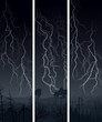 Vertical banner of  lightning at night.