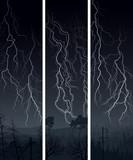 Vertical banner of  lightning at night.