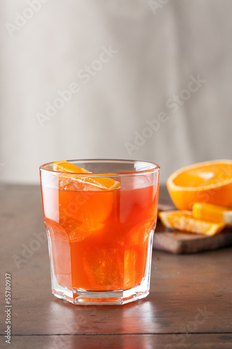 Classic spritz cocktail on wooden table