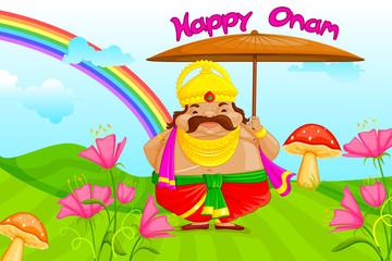 vector illustration of King Mahabali wishing Happy Onam