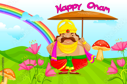 vector illustration of King Mahabali wishing Happy Onam