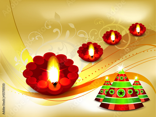 Golden Diwali Card Design