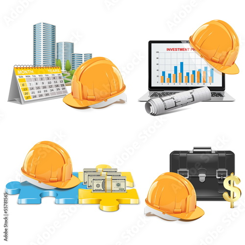 Vector Construction Investment Concept