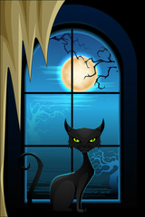 vector illustration of black cat in Halloween night