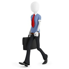 3d man walking with briefcase