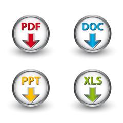 PDF DOC PPT XLS Vector Buttons
