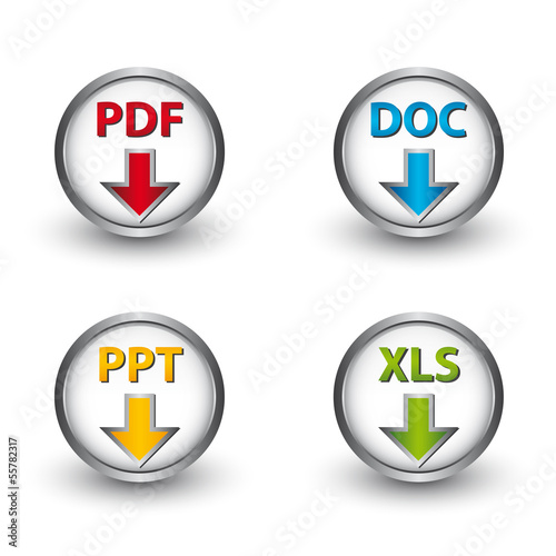 PDF DOC PPT XLS Vector Buttons