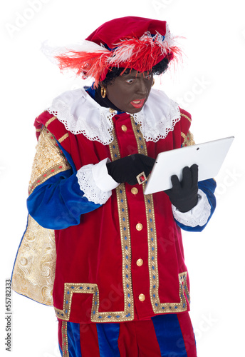 Zwarte Piet with a tablet