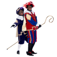 Zwarte Piet and the staff of Sinterklaas