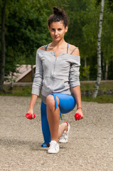 Woman in the park exercising
