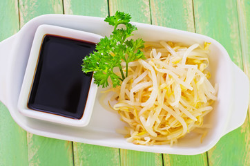 sprouts and soy sauce