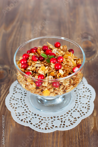 Granola with red berries