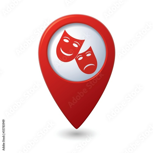 Map pointer with theater icon. Vector illustration