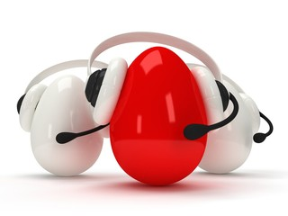 Shiny eggs with headsets isolated over white