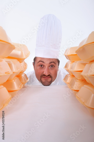 Chef with fast-food packaging