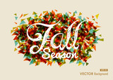 Colorful fall season text with triangles concept background EPS1