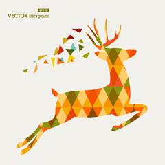 Colorful fall season reindeer triangle composition EPS10 file ba