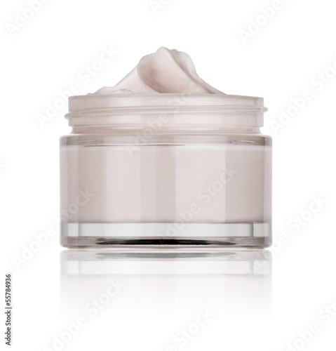 glass jar of beauty cream, isolated