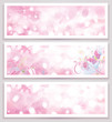 Vector pink glitter banners.