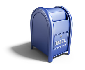 Blue mail box. 3D Icon isolated on white background