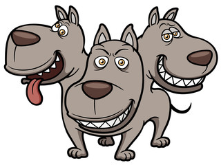Vector illustration of Cerberus cartoon