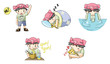Piggy boy cartoon icon in various action set 1