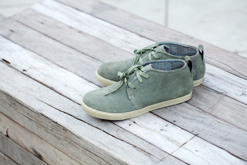 green shoe on wood, fashion shoe