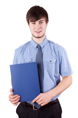 Young cheerful man with a job application