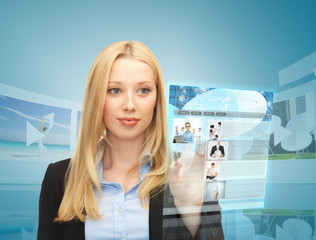 woman with virtual screen and news