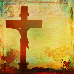 Jesus Christ crucified , grunge background