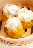 a crab Dim Sum in Bamboo Steamed Bow