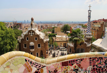 Park Guell in Barcelona, Spain with Gaudi houses