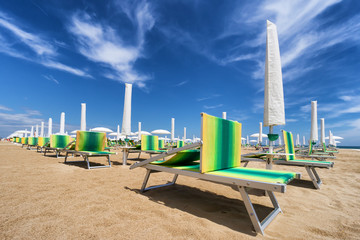 sunbed on riviera romagnola
