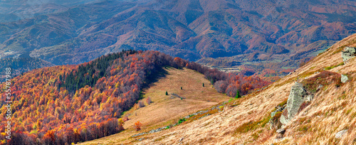 Colorful autumn panorama of the mountains