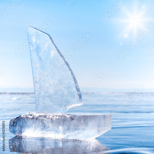 Ice yacht on winter Baical
