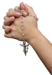 Mani unite in preghiera con corona del Rosario