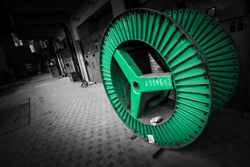 green steel wheel for electrical conductor cable