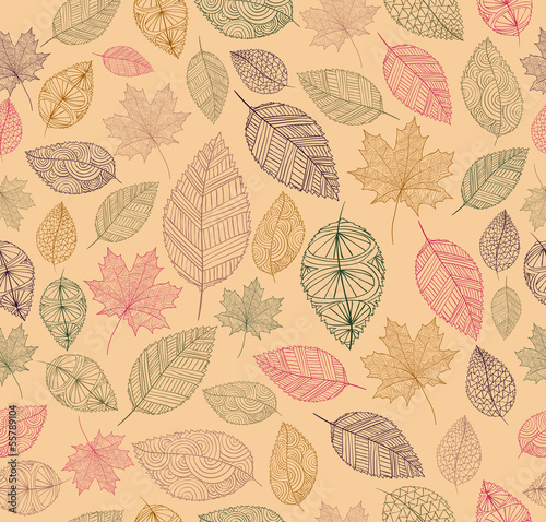 Panel Szklany Vintage drawing fall leaves seamless pattern background. EPS10 f