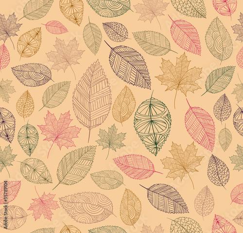 Fototapeta Vintage drawing fall leaves seamless pattern background. EPS10 f