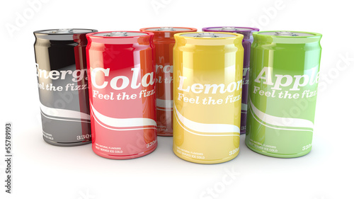 product range of different types of fizzy soda cans of drink